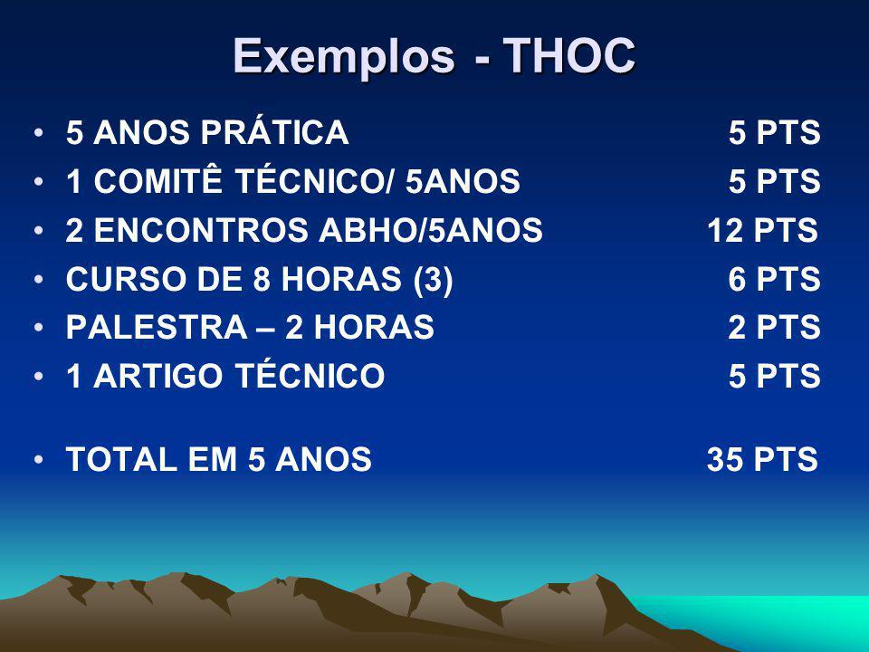 Exemplos - THOC 5 ANOS PRÁTICA5 PTS 1 COMITÊ TÉCNICO/ 5ANOS5 PTS 2 ENCONTROS ABHO/5ANOS 12 PTS CURSO DE 8 HORAS (3)6 PTS PALESTRA – 2 HORAS2 PTS 1 ARTIGO TÉCNICO5 PTS TOTAL EM 5 ANOS 35 PTS