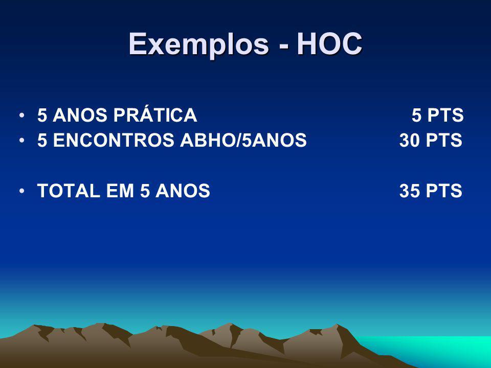 Exemplos - HOC 5 ANOS PRÁTICA5 PTS 5 ENCONTROS ABHO/5ANOS 30 PTS TOTAL EM 5 ANOS 35 PTS