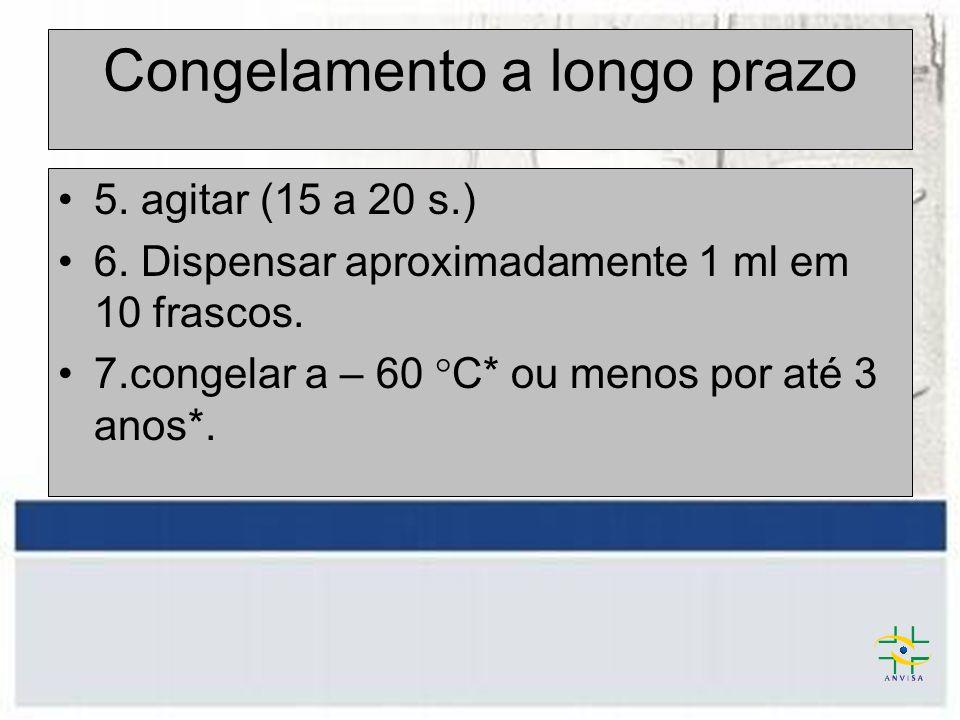 Congelamento a longo prazo 5. agitar (15 a 20 s.) 6. Dispensar aproximadamente 1 ml em 10 frascos. 7.congelar a – 60 °C* ou menos por até 3 anos*.