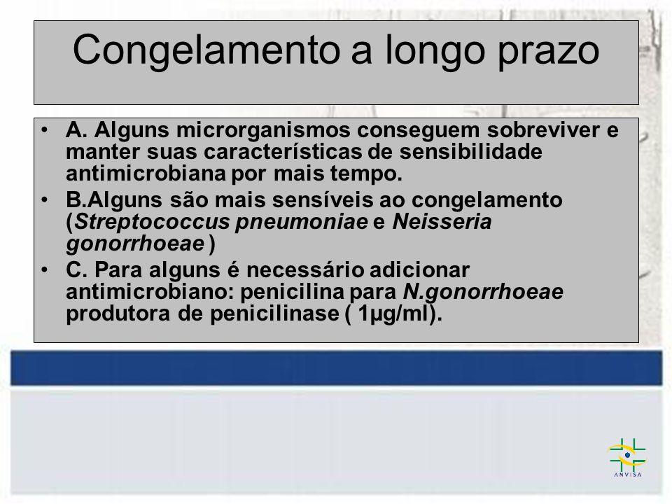 Recomendações - NCCLS Armazenamento prolongado: -20°C ou abaixo.