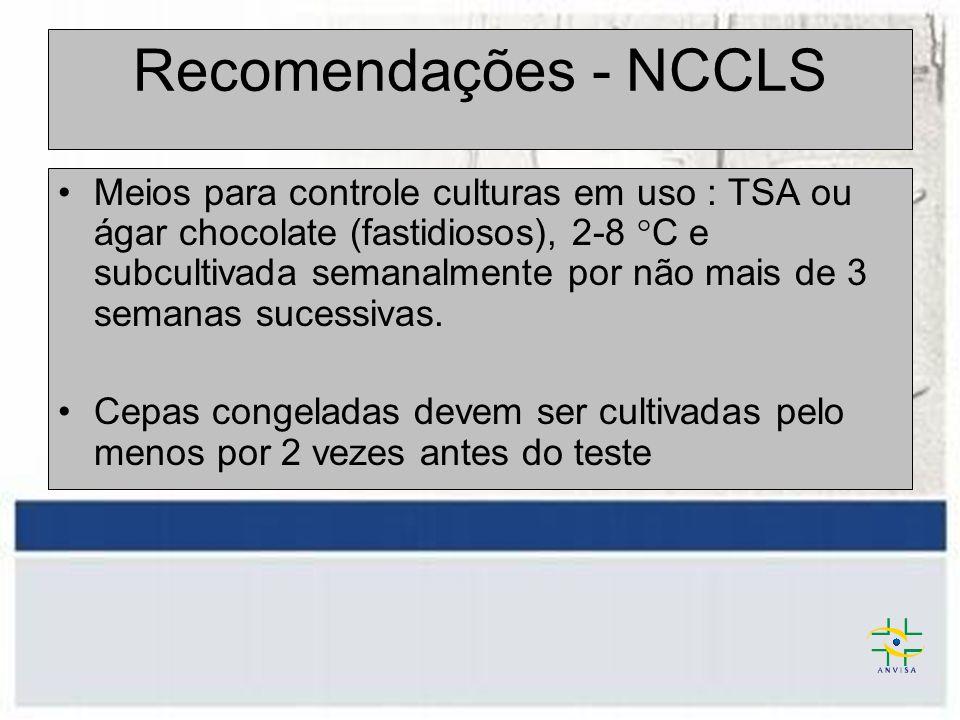 Recomendações - NCCLS Meios para controle culturas em uso : TSA ou ágar chocolate (fastidiosos), 2-8 °C e subcultivada semanalmente por não mais de 3