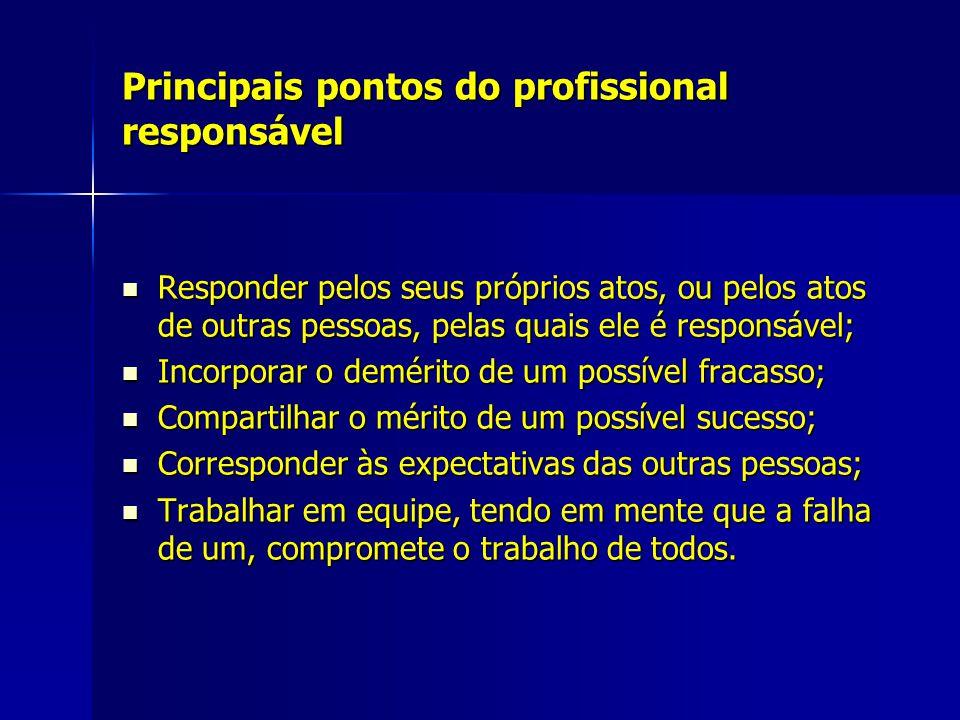 Principais pontos do profissional responsável Responder pelos seus próprios atos, ou pelos atos de outras pessoas, pelas quais ele é responsável; Resp