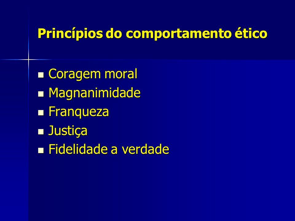 Princípios do comportamento ético Coragem moral Coragem moral Magnanimidade Magnanimidade Franqueza Franqueza Justiça Justiça Fidelidade a verdade Fid