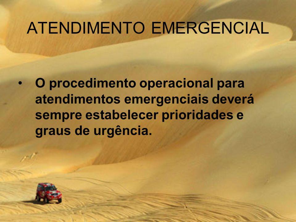 ATENDIMENTO EMERGENCIAL O procedimento operacional para atendimentos emergenciais deverá sempre estabelecer prioridades e graus de urgência.