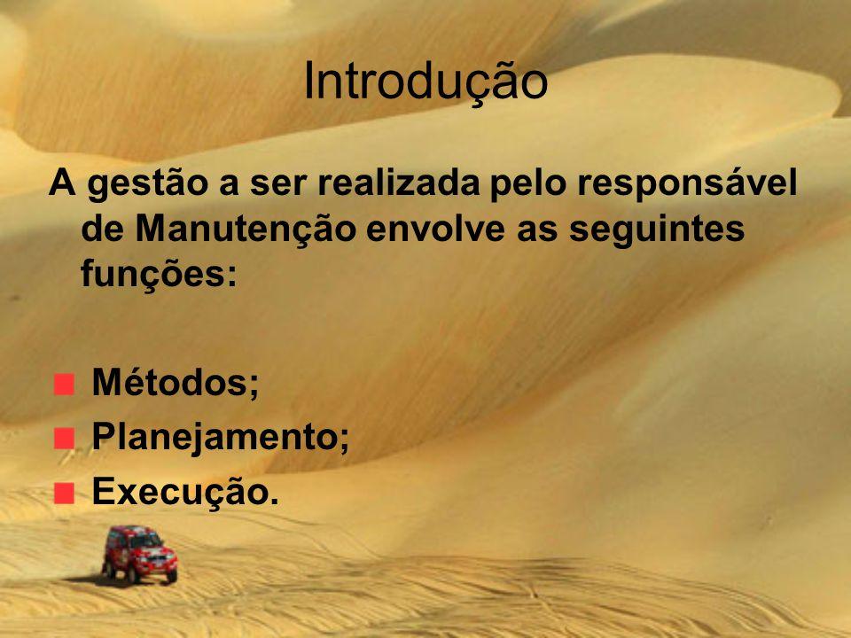 Introdução A gestão a ser realizada pelo responsável de Manutenção envolve as seguintes funções: Métodos; Planejamento; Execução.