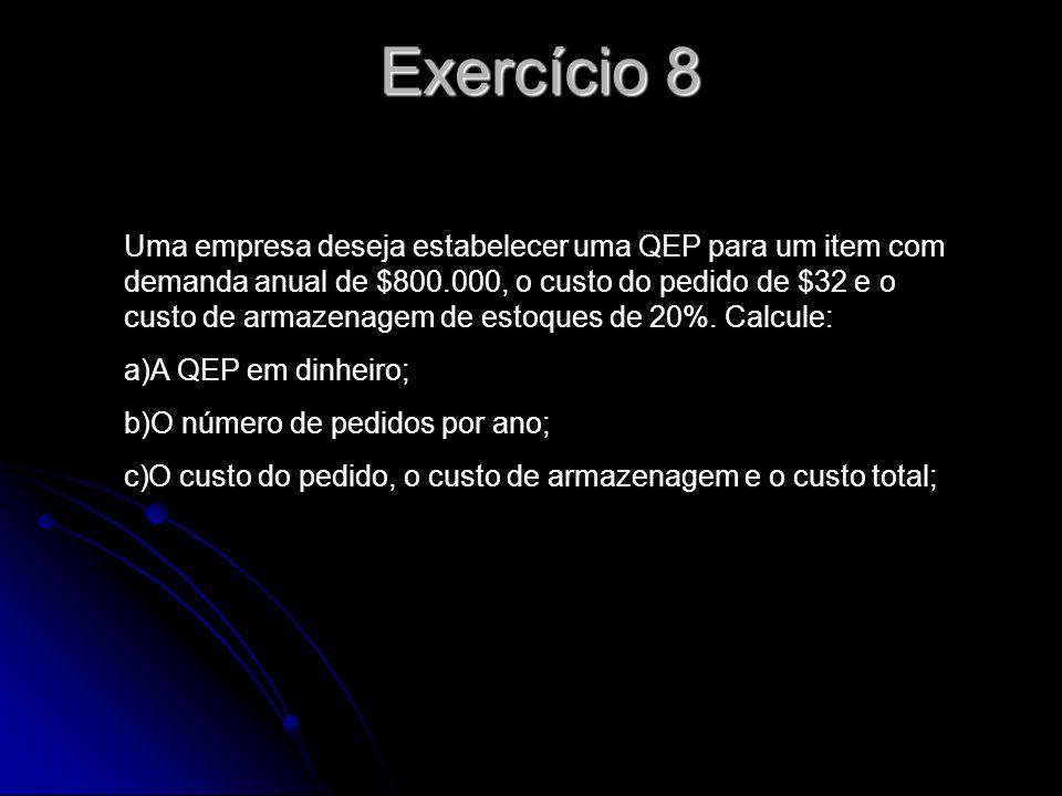 Exercício 9 Uma SKU tem uma demanda anual de 5.200 unidades, cada uma custando $10.