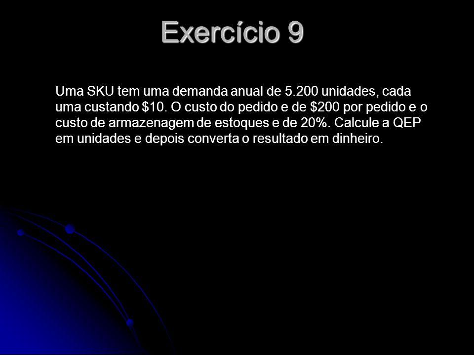 Exercício 9 Uma SKU tem uma demanda anual de 5.200 unidades, cada uma custando $10. O custo do pedido e de $200 por pedido e o custo de armazenagem de