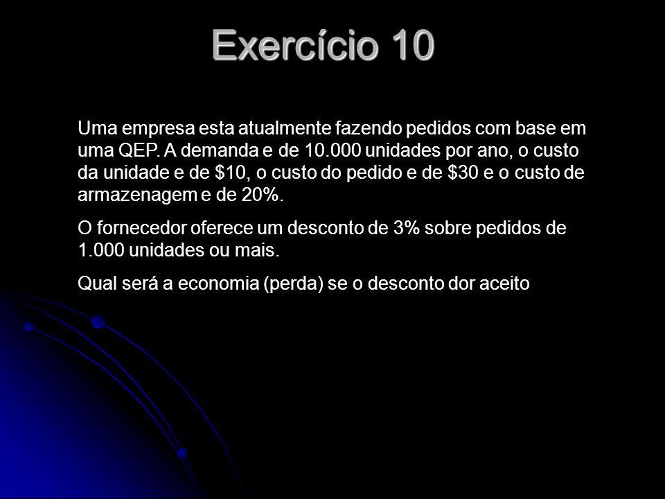 Exercício 11 Observe os dados do problema os dados do exercício 8.