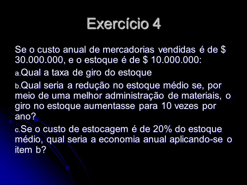 Exercício 4 Se o custo anual de mercadorias vendidas é de $ 30.000.000, e o estoque é de $ 10.000.000: a. Qual a taxa de giro do estoque b. Qual seria