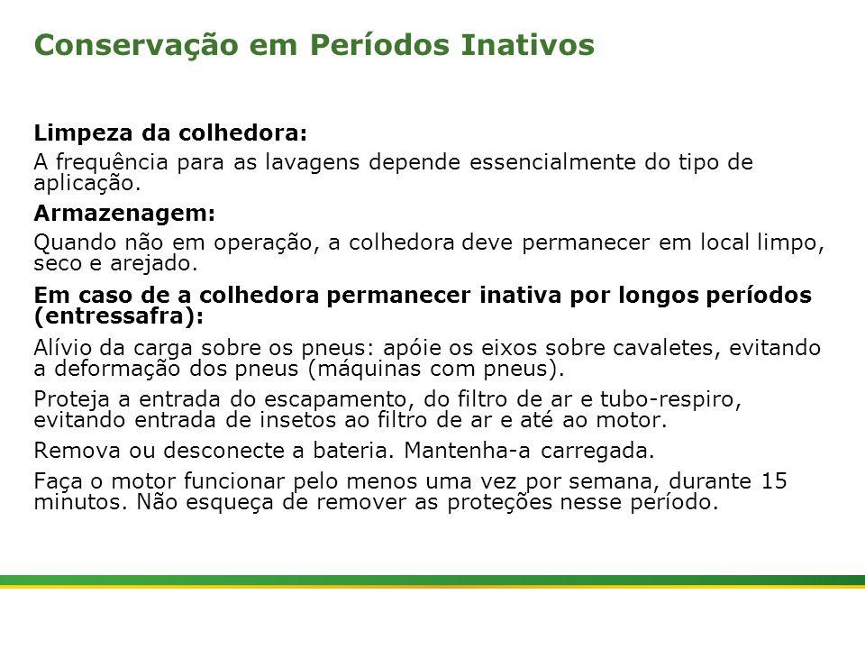 |Colhedora de Cana 3520 & 3522 : Manutenção | Janeiro, 201010 Conservação em Períodos Inativos Limpeza da colhedora: A frequência para as lavagens depende essencialmente do tipo de aplicação.