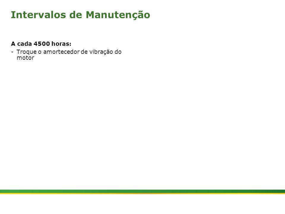 |Colhedora de Cana 3520 & 3522 : Manutenção | Janeiro, 20108 Intervalos de Manutenção A cada 4500 horas: -Troque o amortecedor de vibração do motor