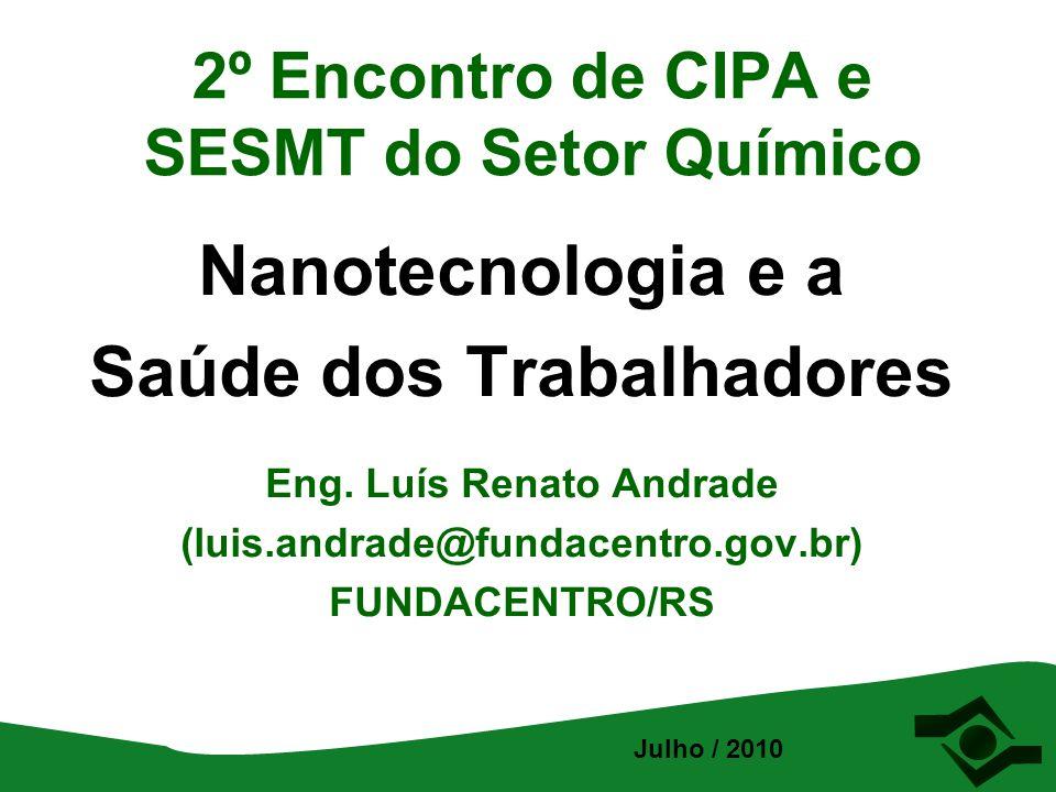 2º Encontro de CIPA e SESMT do Setor Químico Nanotecnologia e a Saúde dos Trabalhadores Eng. Luís Renato Andrade (luis.andrade@fundacentro.gov.br) FUN