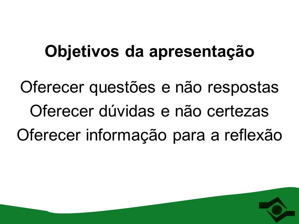 Objetivos da apresentação Oferecer questões e não respostas Oferecer dúvidas e não certezas Oferecer informação para a reflexão