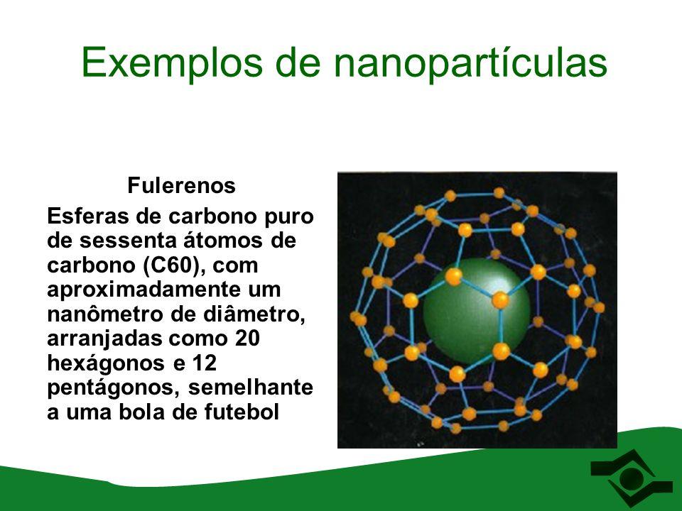Exemplos de nanopartículas Fulerenos Esferas de carbono puro de sessenta átomos de carbono (C60), com aproximadamente um nanômetro de diâmetro, arranj
