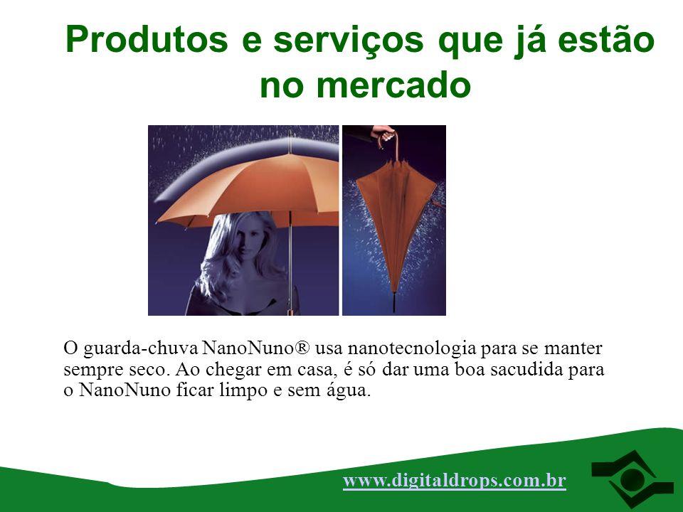 O guarda-chuva NanoNuno® usa nanotecnologia para se manter sempre seco. Ao chegar em casa, é só dar uma boa sacudida para o NanoNuno ficar limpo e sem