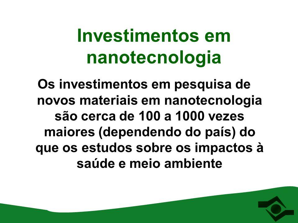 Investimentos em nanotecnologia Os investimentos em pesquisa de novos materiais em nanotecnologia são cerca de 100 a 1000 vezes maiores (dependendo do
