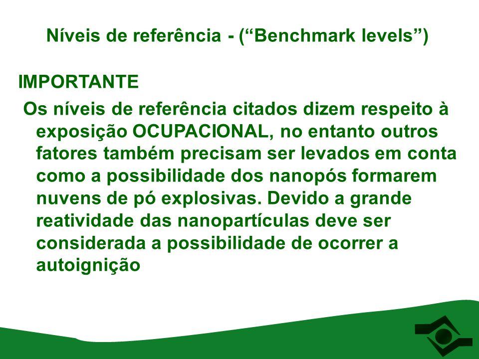 """Níveis de referência - (""""Benchmark levels"""") IMPORTANTE Os níveis de referência citados dizem respeito à exposição OCUPACIONAL, no entanto outros fato"""