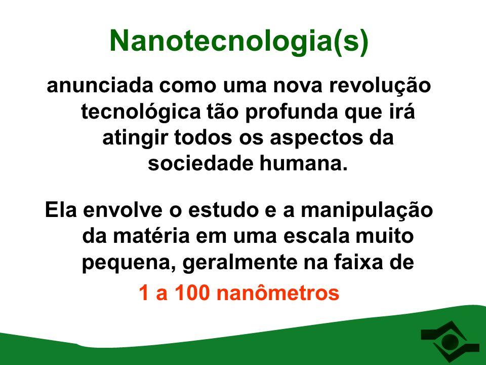Nanotecnologia(s) anunciada como uma nova revolução tecnológica tão profunda que irá atingir todos os aspectos da sociedade humana. Ela envolve o estu
