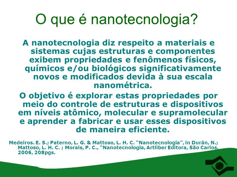 O que é nanotecnologia? A nanotecnologia diz respeito a materiais e sistemas cujas estruturas e componentes exibem propriedades e fenômenos físicos, q