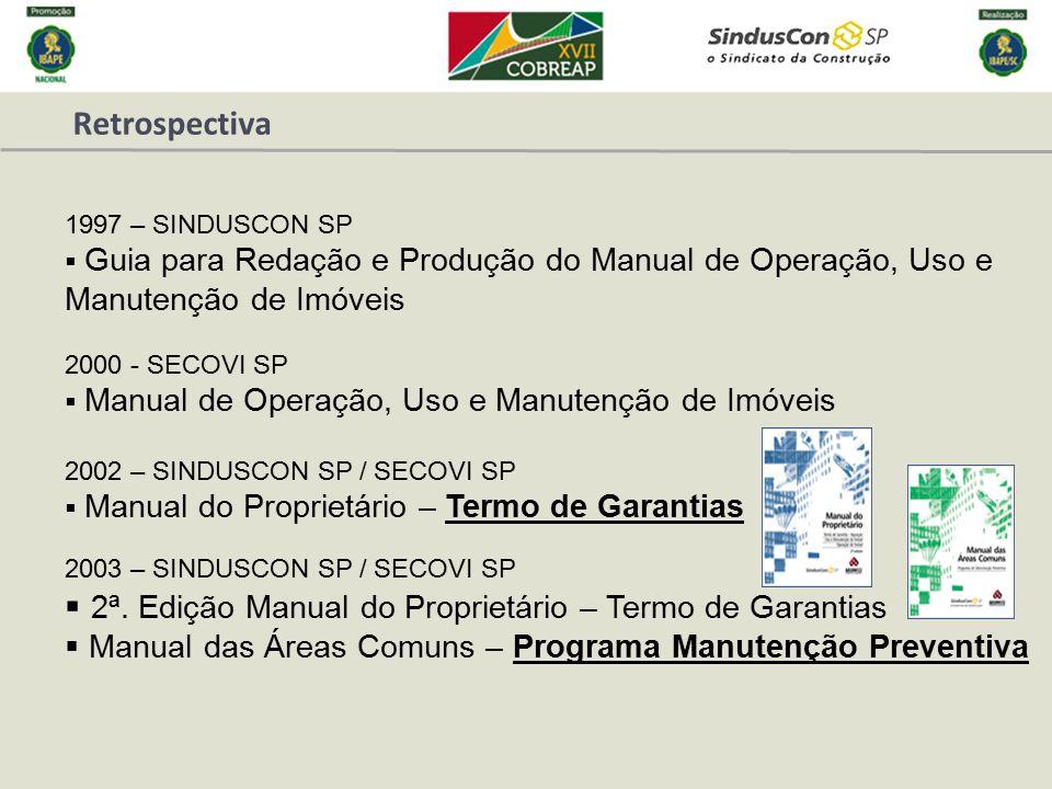 Retrospectiva 2000 - SECOVI SP  Manual de Operação, Uso e Manutenção de Imóveis 2002 – SINDUSCON SP / SECOVI SP  Manual do Proprietário – Termo de G