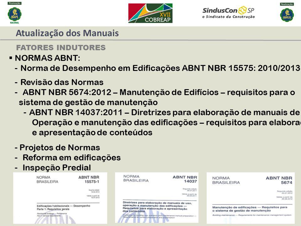 FATORES INDUTORES  NORMAS ABNT: -Norma de Desempenho em Edificações ABNT NBR 15575: 2010/2013 -Revisão das Normas - ABNT NBR 5674:2012 – Manutenção d