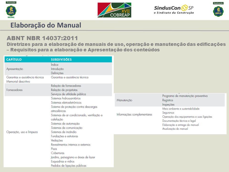 Elaboração do Manual ABNT NBR 14037:2011 Diretrizes para a elaboração de manuais de uso, operação e manutenção das edificações – Requisitos para a ela