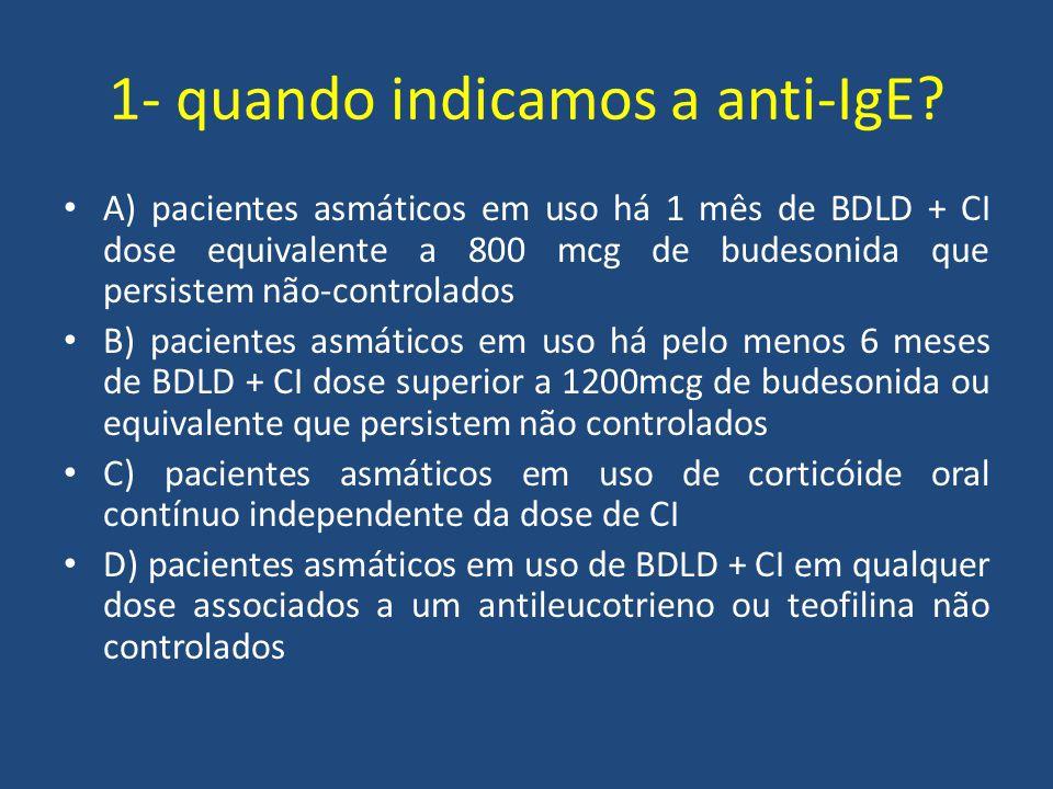 1- quando indicamos a anti-IgE? A) pacientes asmáticos em uso há 1 mês de BDLD + CI dose equivalente a 800 mcg de budesonida que persistem não-control