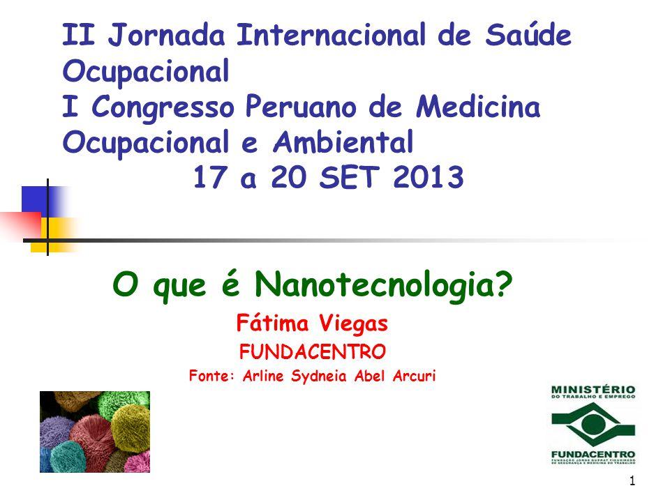 1 II Jornada Internacional de Saúde Ocupacional I Congresso Peruano de Medicina Ocupacional e Ambiental 17 a 20 SET 2013 O que é Nanotecnologia? Fátim