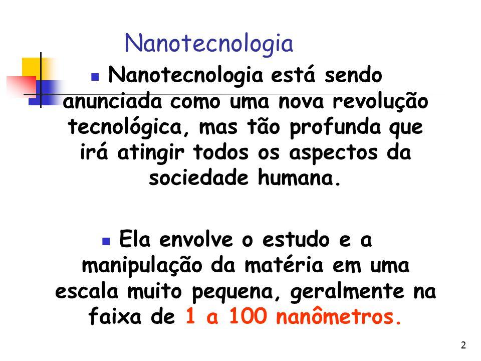 2 Nanotecnologia Nanotecnologia está sendo anunciada como uma nova revolução tecnológica, mas tão profunda que irá atingir todos os aspectos da socied