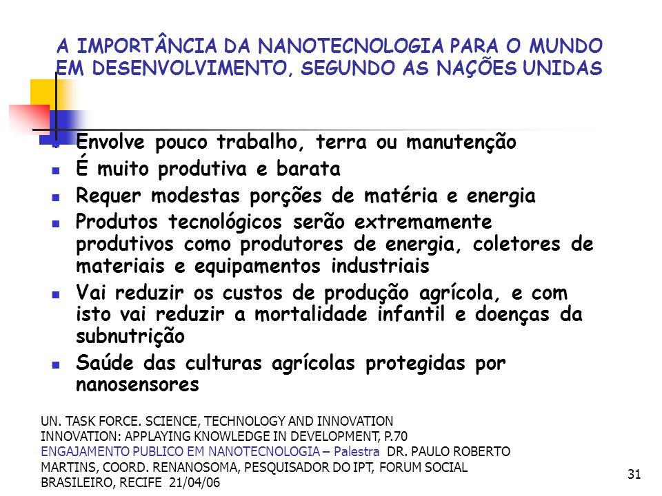 31 A IMPORTÂNCIA DA NANOTECNOLOGIA PARA O MUNDO EM DESENVOLVIMENTO, SEGUNDO AS NAÇÕES UNIDAS Envolve pouco trabalho, terra ou manutenção É muito produ