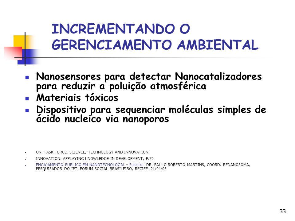 33 INCREMENTANDO O GERENCIAMENTO AMBIENTAL Nanosensores para detectar Nanocatalizadores para reduzir a poluição atmosférica Materiais tóxicos Disposit