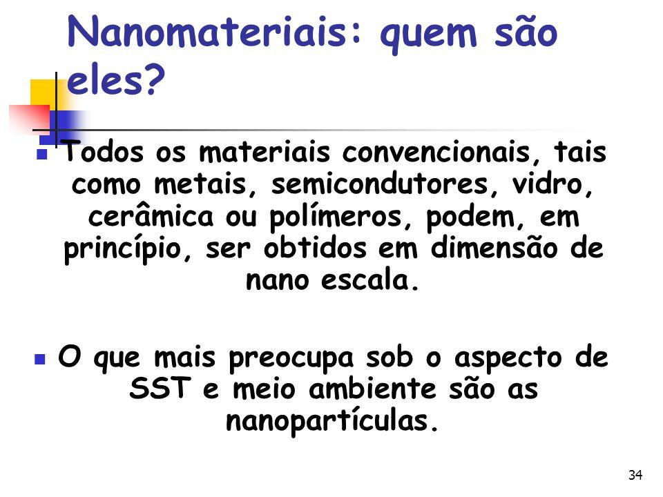 34 Nanomateriais: quem são eles? Todos os materiais convencionais, tais como metais, semicondutores, vidro, cerâmica ou polímeros, podem, em princípio