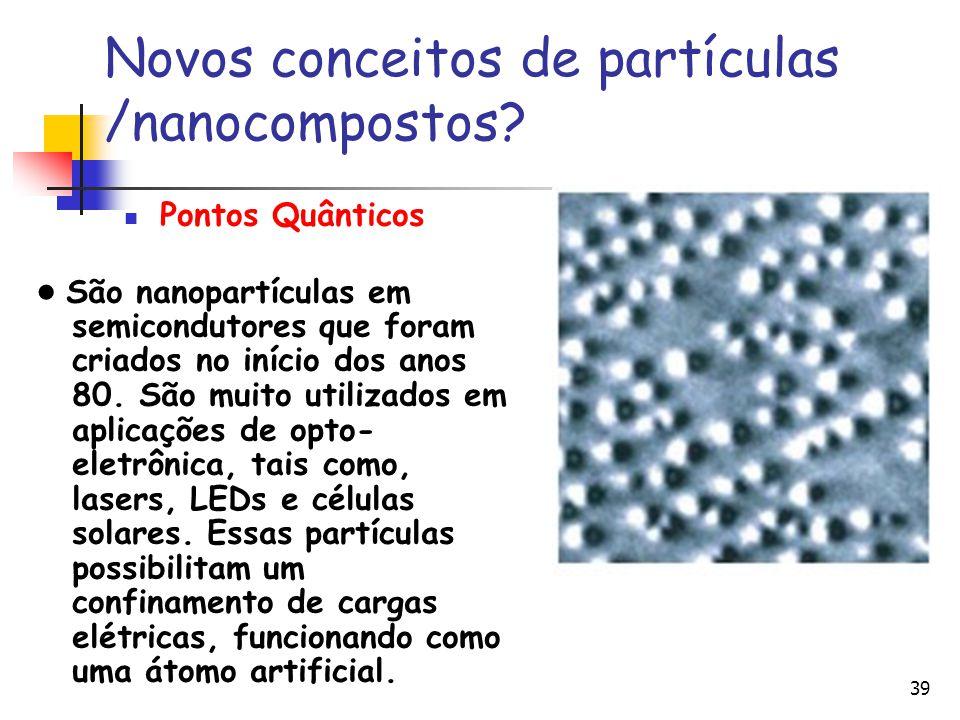 39 Novos conceitos de partículas /nanocompostos? Pontos Quânticos São nanopartículas em semicondutores que foram criados no início dos anos 80. São mu