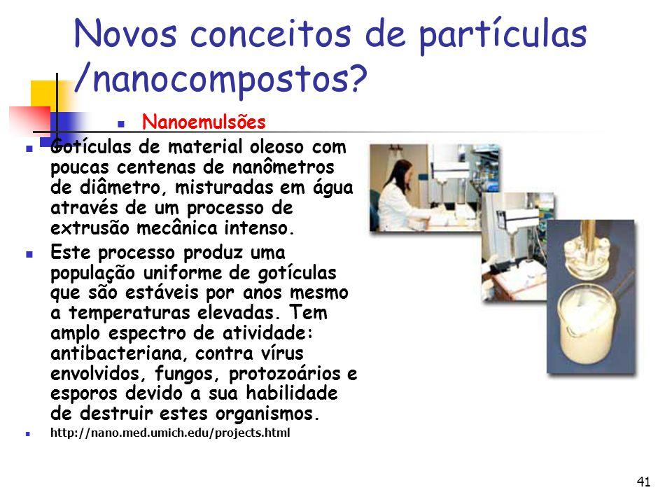 41 Novos conceitos de partículas /nanocompostos? Nanoemulsões Gotículas de material oleoso com poucas centenas de nanômetros de diâmetro, misturadas e