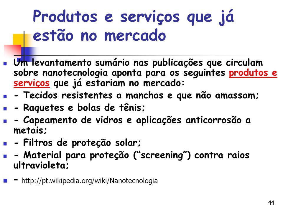 44 Produtos e serviços que já estão no mercado Um levantamento sumário nas publicações que circulam sobre nanotecnologia aponta para os seguintes prod