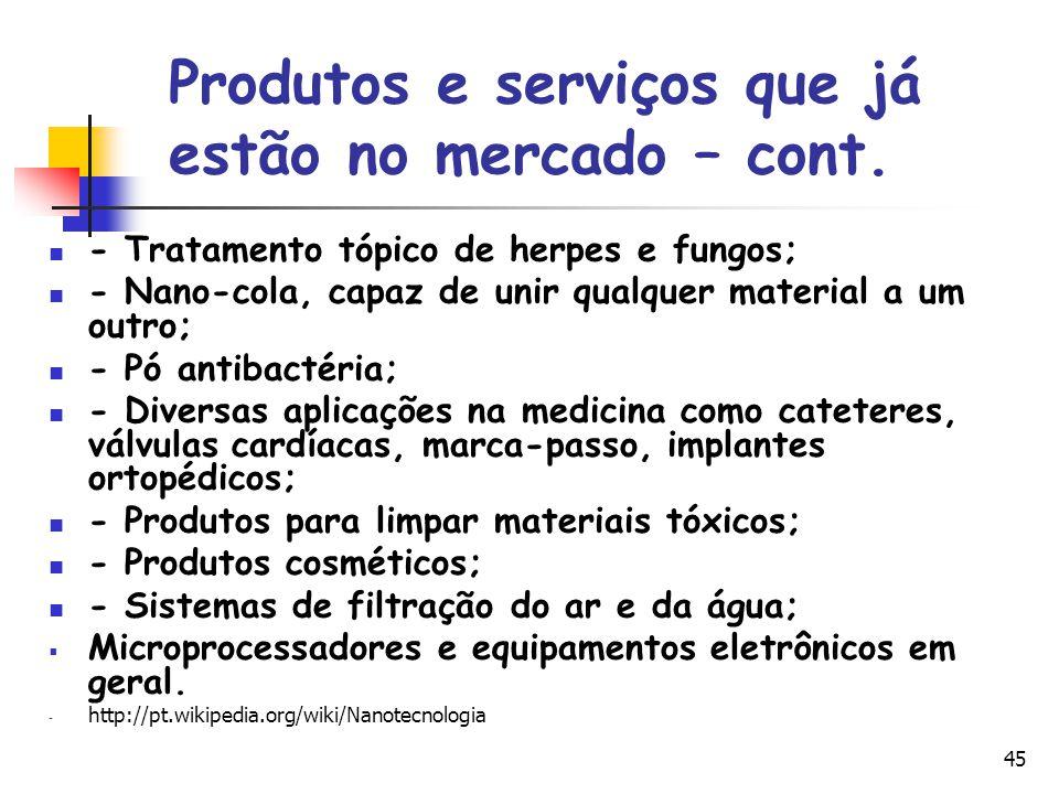 45 Produtos e serviços que já estão no mercado – cont. - Tratamento tópico de herpes e fungos; - Nano-cola, capaz de unir qualquer material a um outro
