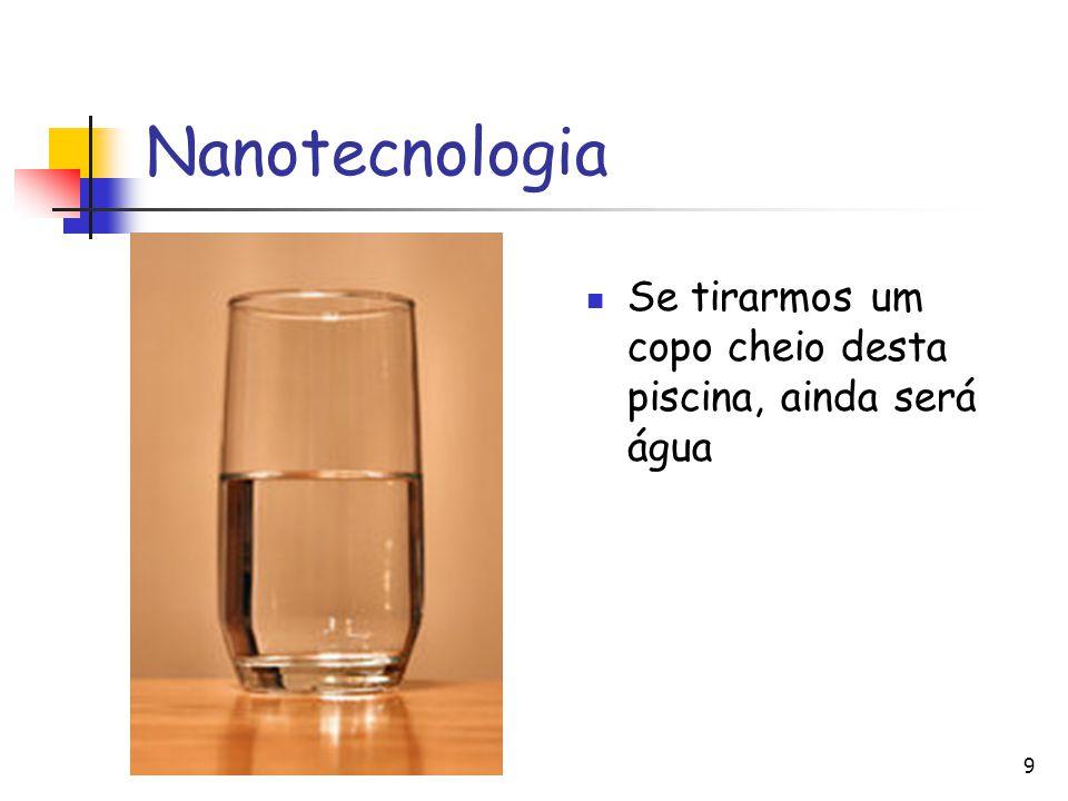 9 Nanotecnologia Se tirarmos um copo cheio desta piscina, ainda será água