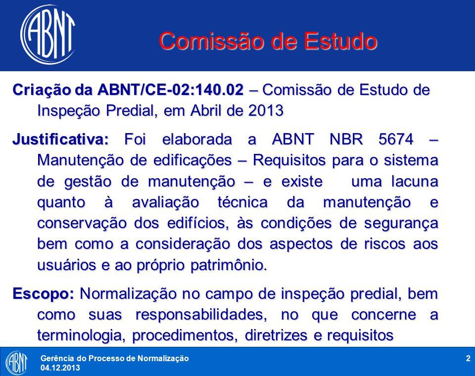 Comissão de Estudo 2Gerência do Processo de Normalização 04.12.2013 Criação da ABNT/CE-02:140.02 – Comissão de Estudo de Inspeção Predial, em Abril de