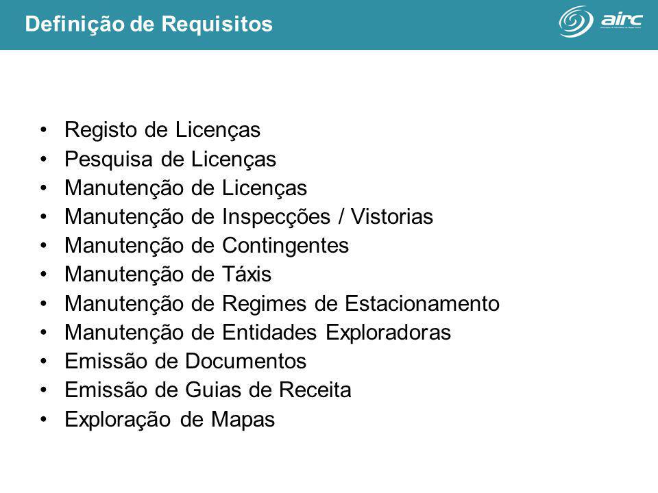 Registo de Licenças Pesquisa de Licenças Manutenção de Licenças Manutenção de Inspecções / Vistorias Manutenção de Contingentes Manutenção de Táxis Manutenção de Regimes de Estacionamento Manutenção de Entidades Exploradoras Emissão de Documentos Emissão de Guias de Receita Exploração de Mapas Definição de Requisitos