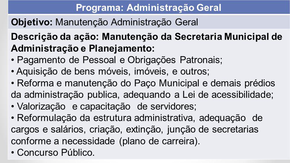 Objetivo: Manutenção Administração Geral Descrição da ação: Manutenção da Secretaria Municipal de Administração e Planejamento: Pagamento de Pessoal e