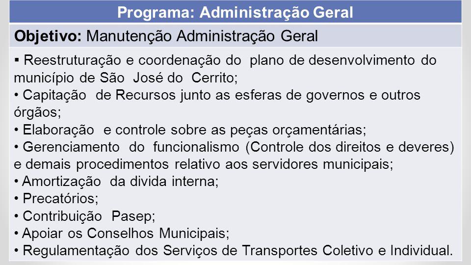 Programa: Administração Geral Objetivo: Manutenção Administração Geral ▪ Reestruturação e coordenação do plano de desenvolvimento do município de São