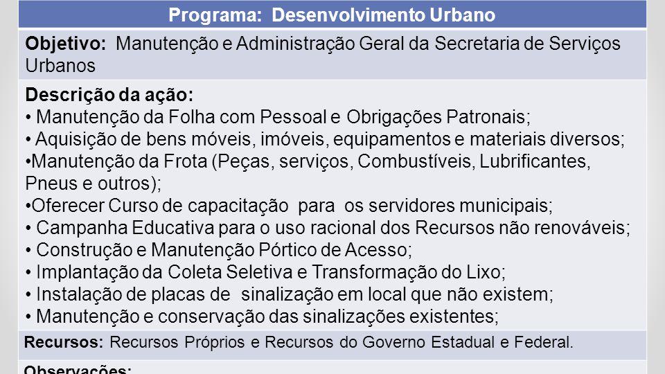 Programa: Desenvolvimento Urbano Objetivo: Manutenção e Administração Geral da Secretaria de Serviços Urbanos Descrição da ação: Manutenção da Folha c