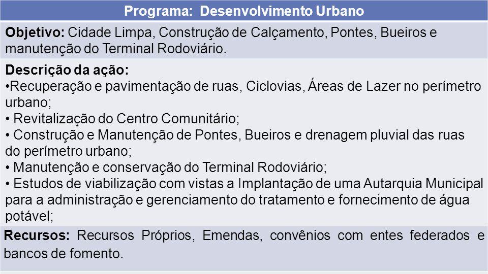 Programa: Desenvolvimento Urbano Objetivo: Cidade Limpa, Construção de Calçamento, Pontes, Bueiros e manutenção do Terminal Rodoviário. Descrição da a
