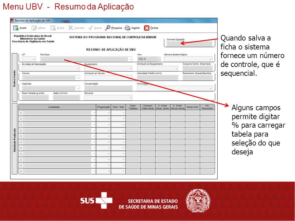 Menu UBV - Resumo da Aplicação Quando salva a ficha o sistema fornece um número de controle, que é sequencial.