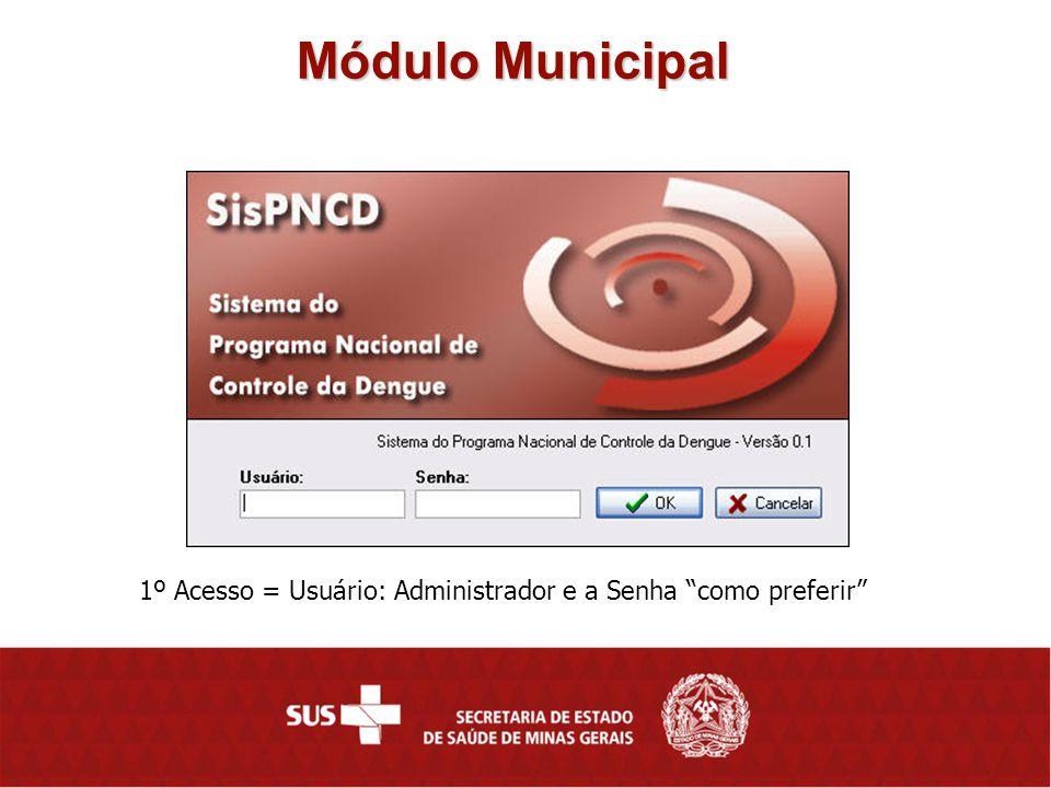 Módulo Municipal 1º Acesso = Usuário: Administrador e a Senha como preferir