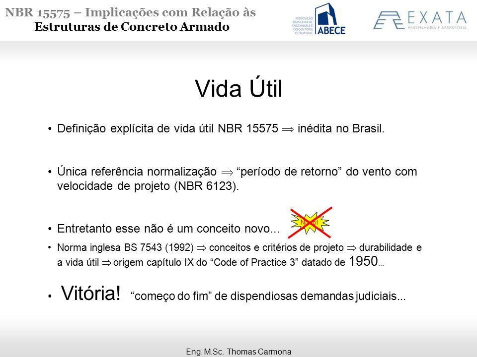 NBR 15575 – Implicações com Relação às Estruturas de Concreto Armado Vida Útil Eng. M.Sc. Thomas Carmona Definição explícita de vida útil NBR 15575 