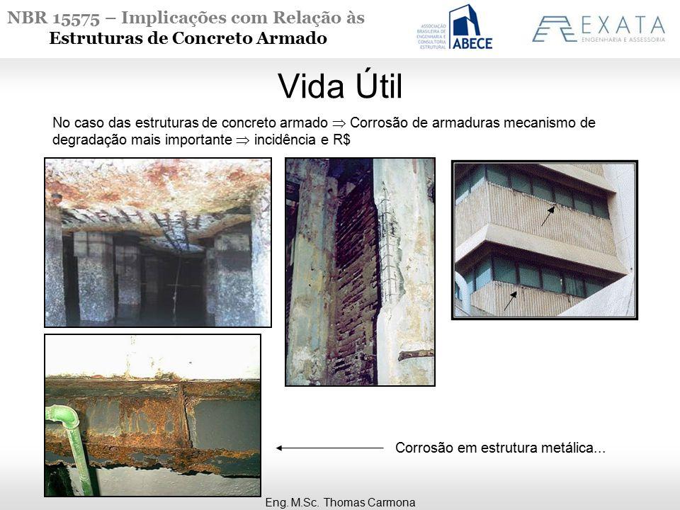 NBR 15575 – Implicações com Relação às Estruturas de Concreto Armado Vida Útil Eng. M.Sc. Thomas Carmona No caso das estruturas de concreto armado  C