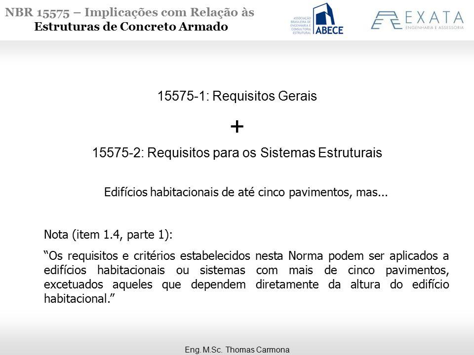 NBR 15575 – Implicações com Relação às Estruturas de Concreto Armado Edifícios habitacionais de até cinco pavimentos, mas...