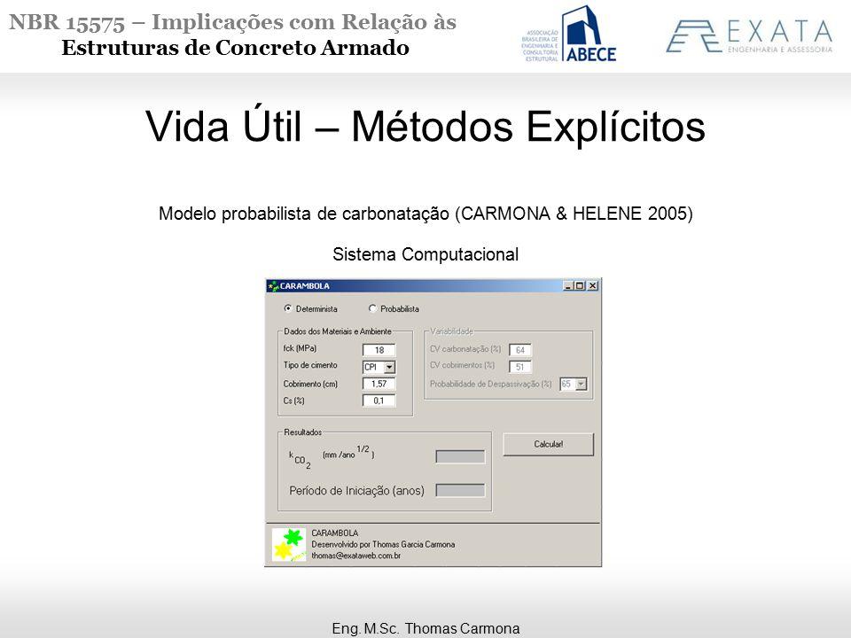 NBR 15575 – Implicações com Relação às Estruturas de Concreto Armado Vida Útil – Métodos Explícitos Modelo probabilista de carbonatação (CARMONA & HELENE 2005) Sistema Computacional Eng.