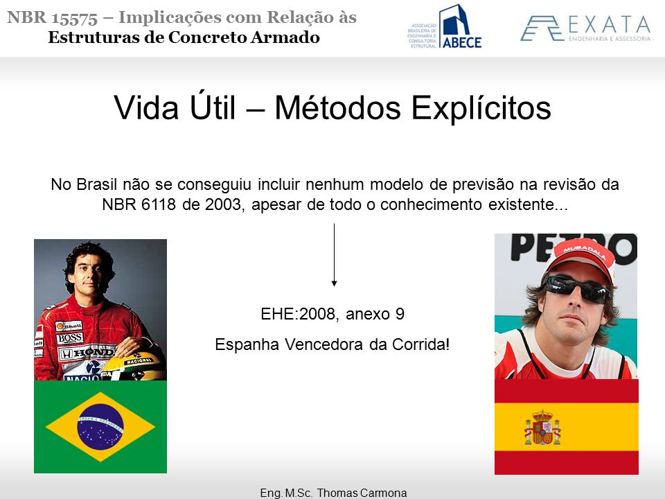 NBR 15575 – Implicações com Relação às Estruturas de Concreto Armado Eng. M.Sc. Thomas Carmona Vida Útil – Métodos Explícitos No Brasil não se consegu